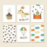 Cartões do unicórnio Imagens de Stock