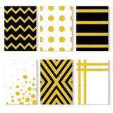 Cartões do vetor com coleção do brilho dos confetes do ouro Imagens de Stock Royalty Free