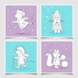 Cartões do vetor com ilustrações dos animais Fotografia de Stock Royalty Free