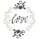 Cartões do vetor no dia do ` s do Valentim Amor, coração, flores ilustração royalty free
