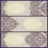 Cartões do vintage com redemoinhos e motivos florais no estilo retro. Fotografia de Stock