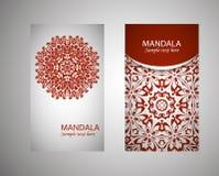 Cartões do vintage com teste padrão floral e ornamento da mandala Molde oriental da disposição de projeto do inseto do vetor Islã Imagem de Stock Royalty Free