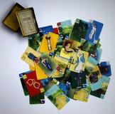 Cartões do vintage de um jogo 1935 do clube do crime Fotografia de Stock Royalty Free
