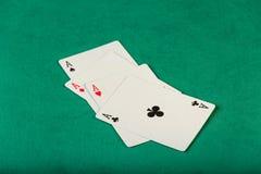 Cartões dos áss do pôquer quatro Fotos de Stock Royalty Free