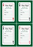 Cartões dos convites da noite do pôquer Ilustração Stock