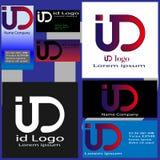Cartões dos logotipos com letras mim e D Ilustração Royalty Free