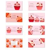 Cartões dos queques Imagens de Stock Royalty Free