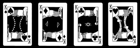 4 cartões dos reis em seguido - jogo Foto de Stock