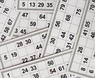 Cartões e barris para o jogo do bingo do loto do russo no fundo branco ilustração do vetor