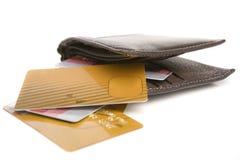 Cartões e carteira de crédito Fotografia de Stock