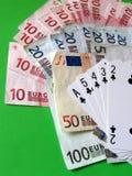 Cartões e dinheiro Fotografia de Stock