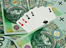 Cartões e dinheiro do póquer Fotos de Stock Royalty Free