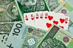 Cartões e dinheiro do póquer da rua Imagem de Stock
