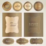 Cartões e elementos do convite do casamento Imagens de Stock