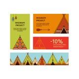 Cartões e insetos relativos à promoção com tendas Fotos de Stock