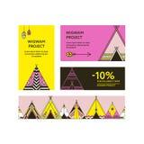 Cartões e insetos relativos à promoção com tendas Imagem de Stock