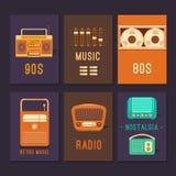 Cartões e música retro dos cartazes Foto de Stock Royalty Free