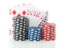 Cartões e microplaquetas de jogo Fotografia de Stock Royalty Free