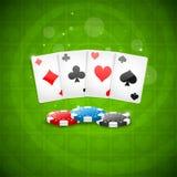 Cartões e microplaquetas de jogo do fundo Imagem de Stock
