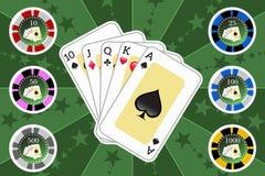 Cartões e microplaquetas do pôquer fotografia de stock
