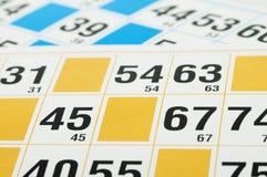 Cartões e números do Bingo Imagem de Stock Royalty Free