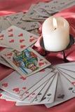 Cartões e vela de jogo Imagem de Stock Royalty Free