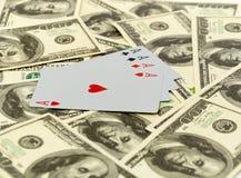Cartões em 100 dólares Fotografia de Stock
