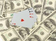 Cartões em 100 dólares de sumário Imagens de Stock