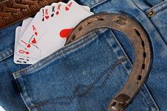 Cartões em calças de brim do bolso Imagem de Stock Royalty Free