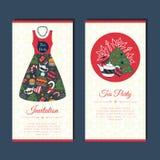 Cartões engraçados com garatuja do inverno Foto de Stock Royalty Free
