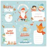 Cartões, etiquetas e etiquetas de Natal bonitos Imagens de Stock Royalty Free
