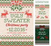 Cartões feios da festa de Natal da camiseta Teste padrão feito malha escandinávia Fotografia de Stock