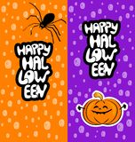 Cartões felizes de Dia das Bruxas com aranha e abóbora ilustração do vetor