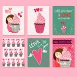 Cartões felizes do dia de Valentim Imagens de Stock