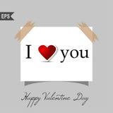 Cartões felizes do dia de Valentim com coração sobre Fotos de Stock Royalty Free