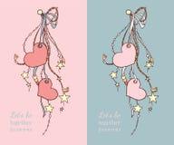 Cartões felizes do dia de Valentim com corações e fitas em duas cores Ilustração Stock