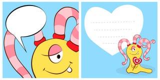 Cartões felizes do dia de Valentim com a menina bonito do monstro dos desenhos animados, coração, bolha do discurso Imagens de Stock Royalty Free