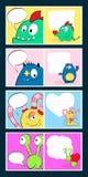 Cartões felizes do dia de Valentim com o azul bonito do monstro, chifre, coração, bolha do discurso Ilustração dos desenhos anima Fotografia de Stock Royalty Free