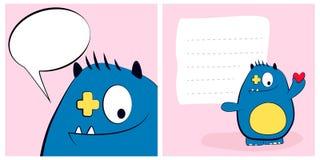 Cartões felizes do dia de Valentim com o azul bonito do monstro dos desenhos animados, chifre, coração, bolha do discurso Fotos de Stock Royalty Free
