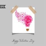 Cartões felizes do dia de Valentim com o presente no fundo Fotos de Stock