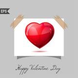 Cartões felizes do dia de Valentim com o presente no fundo Fotografia de Stock