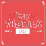 Cartões felizes do dia de Valentim com ornamento, corações fotografia de stock