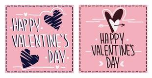 Cartões felizes do dia do ` s do Valentim Fotos de Stock Royalty Free