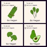 Cartões felizes do dia do vegetariano Ilustração do estilo do Doodle Os cartões com inscrição vão vegetariano Coma seus cartões d ilustração royalty free