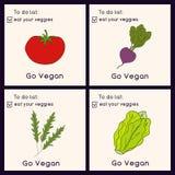Cartões felizes do dia do vegetariano Ilustração do estilo do Doodle Os cartões com inscrição vão vegetariano Coma seus cartões d ilustração stock