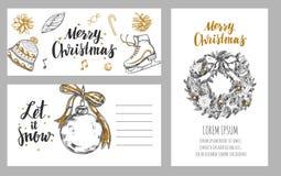 Cartões festivos do inverno do Feliz Natal Molde do projeto Fotografia de Stock