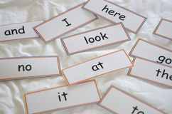 Cartões flash com primeiras palavras fotos de stock royalty free