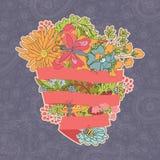 Cartões florais à moda do vintage, convites com borboletas Fotos de Stock