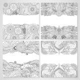 Cartões florais étnicos com mandala Foto de Stock