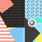 Cartões geométricos na moda de memphis dos elementos Textura retro do estilo, teste padrão e elementos geométricos Cartaz abstrat ilustração do vetor